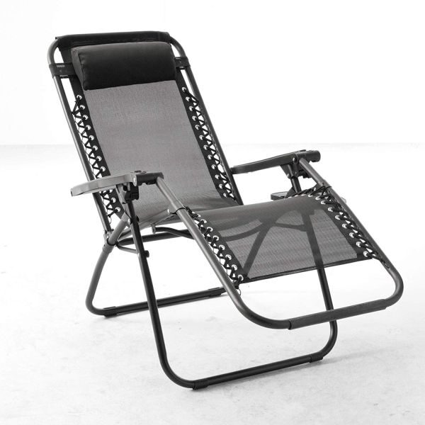 Anti-Gravity Black Patio Chair With Removable Cupholder Garden Plant