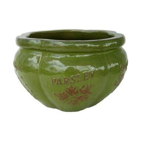 Vintage Pottery Glazed Green 13 Inch Herb Planter Garden Plant
