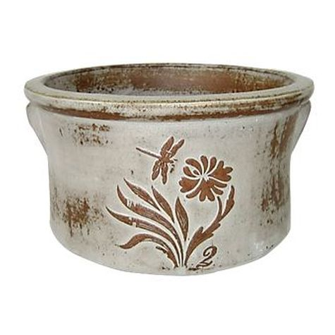 Vintage Pottery Rustic White 10 Inch Dragonfly Crock Planter Garden Plant
