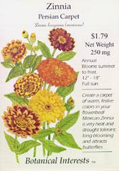 Zinnia Persian Carpet Seeds